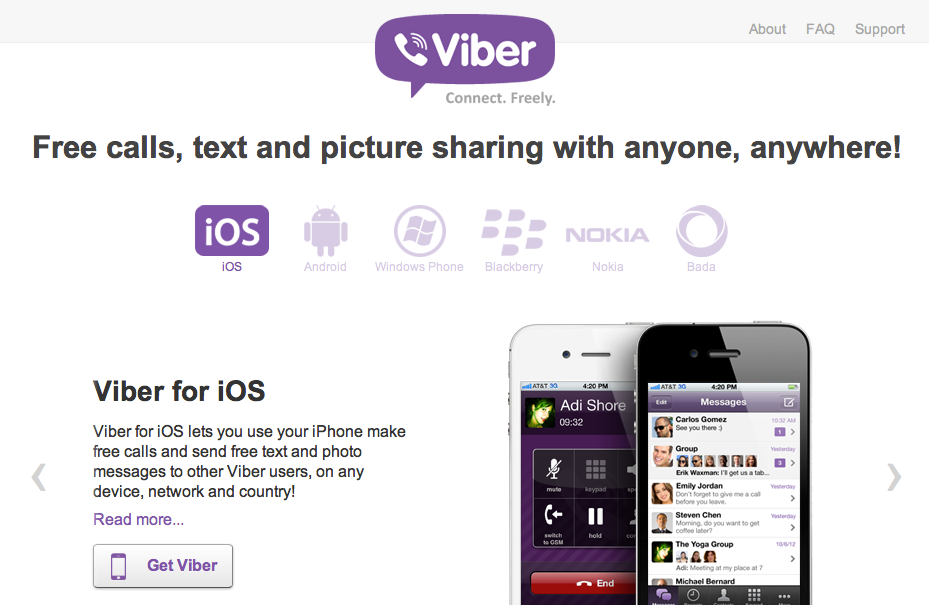 Mobile Telephony over IP: Facetime, Viber, Skype and other