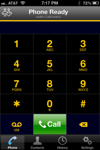 Bria softphone -iPhone edition - the main screen